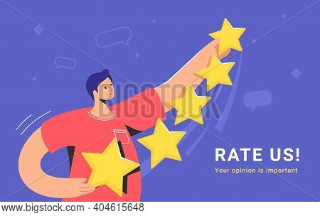 Customer Review And User Rating Five Stars. Flat Teenage Man Standing Alone And Holding Some Yellow