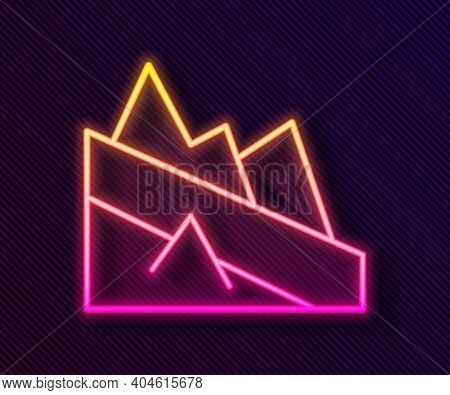 Glowing Neon Line Mountain Descent Icon Isolated On Black Background. Symbol Of Victory Or Success C