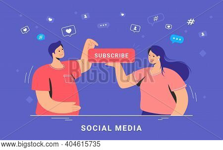 Social Media Marketing And Increasing Subscribers. Flat Vector Concept Illustration Of Smiling Woman