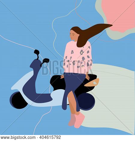 A Girl In A Skirt With A Slit Leaning On A Motorcycle Or Scooter.freedom,journey,road Trip Concept.t