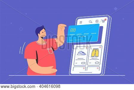 Online Store E-commerce Mobile App. Flat Line Vector Illustration Of Cute Man Standing Alone And Poi