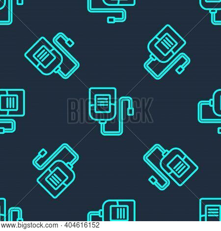 Green Line Iv Bag Icon Isolated Seamless Pattern On Blue Background. Blood Bag. Donate Blood Concept