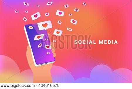 Social Media App With Speech Bubbles And Hearts. Human Hand Holds Smartphone And Loading Many Hearts