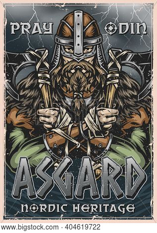 Viking Colorful Poster In Vintage Style With Bearded Nordic Warrior In Helmet Holding Battle Axes On