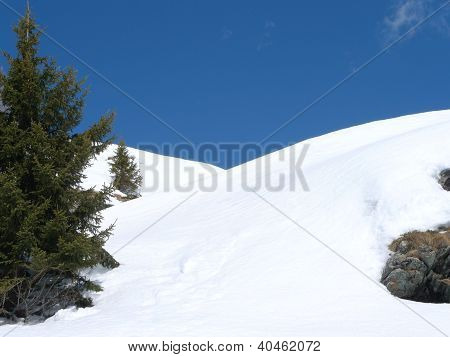snowy hills in the alps