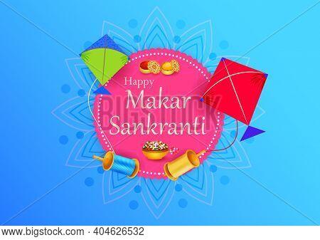 Vector Design Of Happy Makar Sankranti Religious Traditional Festival Of India Celebration Backgroun