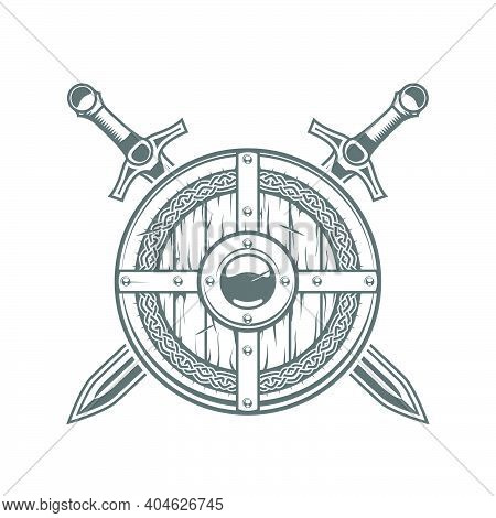 Round Viking Shield With Celtic Pattern And Two Crossed Swords, Medieval Knight Emblem With Armor, V