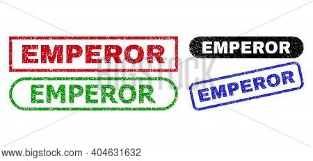 Emperor Grunge Watermarks. Flat Vector Grunge Stamps With Emperor Title Inside Different Rectangle A
