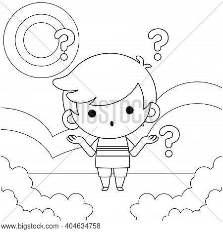 Illustration Vector Graphic Of Coloring Book For Kids.  Cute Little Boy Confused. Good To Use For Ch
