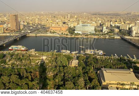 Cairo-egypt - October 04, 2020: Beautiful City Overview From Cairo Tower And Car Traffic During Day.