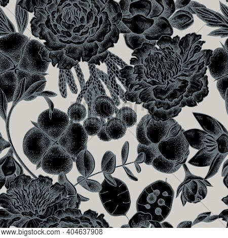 Seamless Pattern With Hand Drawn Stylized Ficus, Eucalyptus, Peony, Cotton, Freesia, Brunia Stock Il
