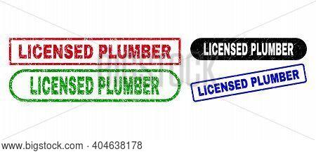 Licensed Plumber Grunge Seals. Flat Vector Grunge Seals With Licensed Plumber Message Inside Differe