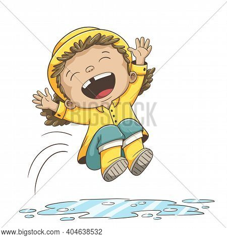 Girl Jumps Into A Puddle. Hand Drawn Vector Illustration With Separate Layers.