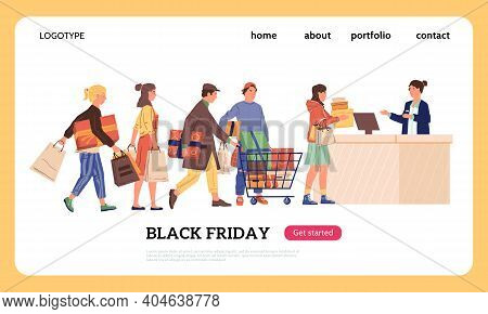 Shopping Landing Page. Cartoon Buyers With Purchases Standing In Line At Cashier. Black Friday Disco