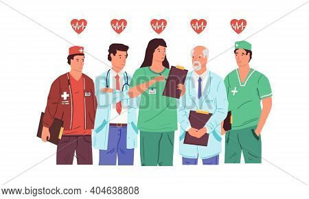 Hero Doctors. Health Care Medical Team. Cartoon Medics And Nurses Standing Together. Clinic Workers
