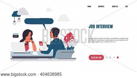 Recruitment Landing Page. Job Interview. Hr Manager Talking With Candidates For Vacant Position. Web