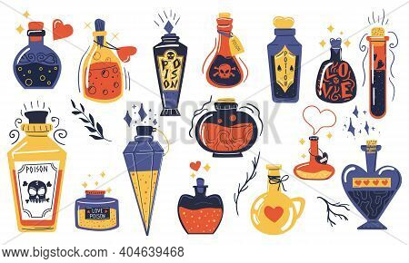 Magic Potions. Alchemist Cartoon Bottles With Love Potion And Magical Elixir, Witch And Wizard Magic