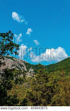 Summer Sunny View Of The Crimean Road In The Mountains. Beautiful Mountain Landscape Of The Crimean
