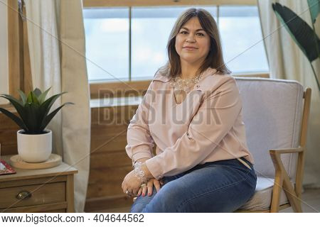 Cheerful Elegant Elderly Woman Smiling. Head Shot Close Up Portrait Happy Healthy Middle Aged Woman
