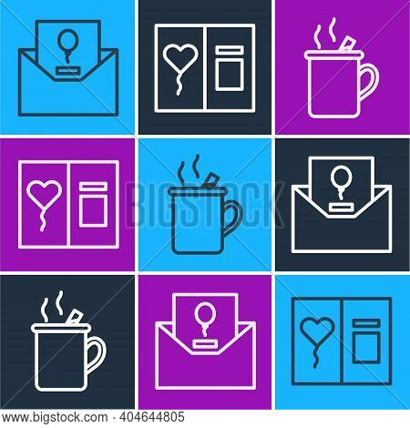 Set Line Invitation, Mulled Wine And Greeting Card Icon. Vector