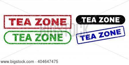 Tea Zone Grunge Watermarks. Flat Vector Grunge Watermarks With Tea Zone Caption Inside Different Rec