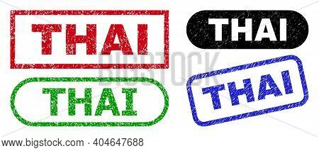 Thai Grunge Watermarks. Flat Vector Scratched Watermarks With Thai Title Inside Different Rectangle