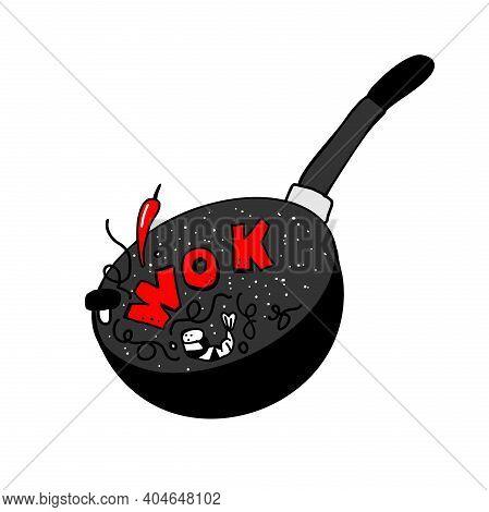 Wok Frying Pan Icon. Vector Illustration. Wok Asian Food Logo For Thai Or Chinese Restaurant.