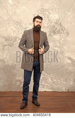 Trendy Man With Beard. Modern Life. Male Fashion Model. Mature Businessman. Casual Style. Brutal Bea