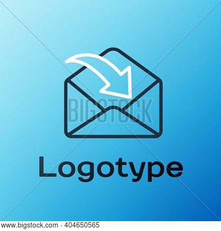 Line Envelope Icon Isolated On Blue Background. Received Message Concept. New, Email Incoming Messag