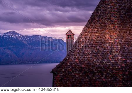 Sunset Over Lake Leman And Houses With Red Roofs. Lavaux Region, Vaud Canton In Switzerland.