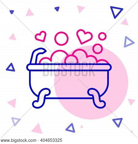 Line Romantic In Bathroom Icon Isolated On White Background. Concept Romantic Date. Romantic Bathroo