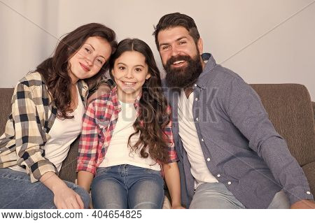 Happy Family Together. Little Girl Child With Parents. Trust And Relative Bonds. Bearded Man And Wom