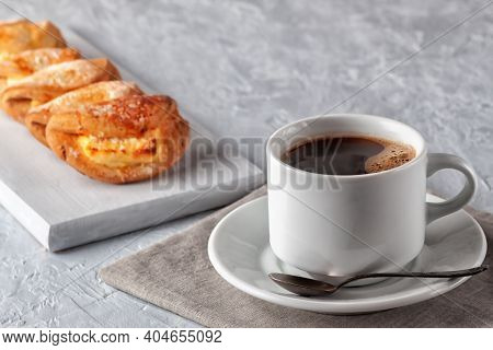 Homemade Cakes, Cup Of Coffee And Homemade Cookies With Cottage Cheese On Gray Background