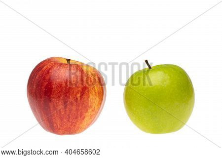 Red And Green Apple Comparison And Differentiation Conceptual Picture Around Selection And Choice.