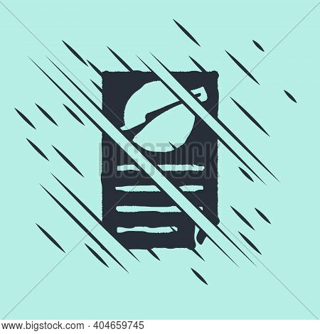 Black Firearms License Certificate Icon Isolated On Green Background. Weapon Permit. Glitch Style. V