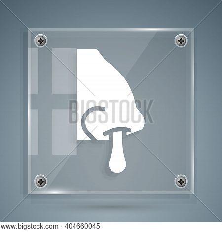White Runny Nose Icon Isolated On Grey Background. Rhinitis Symptoms, Treatment. Nose And Sneezing.