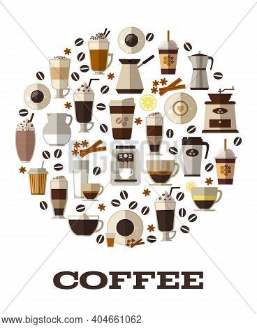 Coffee Cup Drink, Cafe And Cappuccino, Espresso Hot, Vector Illustration