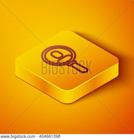 Isometric Line Magnifying Glass For Search A People Icon Isolated On Orange Background. Recruitment