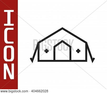 Black Line Military Medical Tent Providing First Aid To A Patient Icon Isolated On White Background.