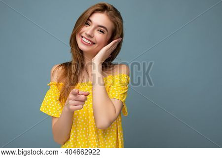 Charming Smiling Good Looking Young Blonde Woman Wearing Stylish Yellow Summer Dress Standing Isolat