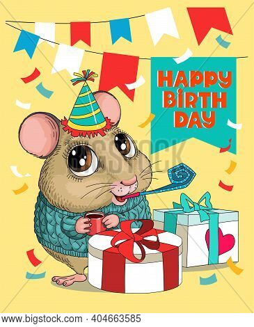 Vector Humorous Birthday Illustration. A Cute Funny Mouse Is Sitting In A Hat And A Whistle With Big