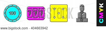 Set Casino Chips, Slot Machine With Lucky Sevens, Game Dice And Casino Dealer Icon. Vector