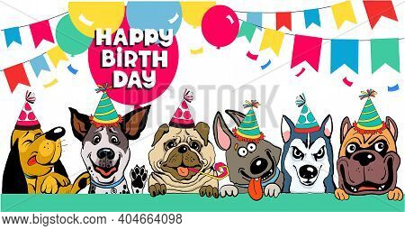 Friends Colorful Vector Illustration. Funny Funny Dogs Congratulate Happy Birthday Surrounded By Bal