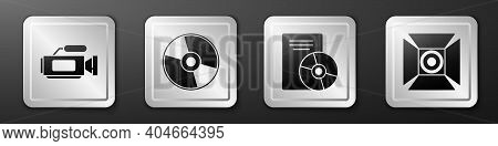 Set Cinema Camera, Cd Or Dvd Disk, Cd Or Dvd Disk And Movie Spotlight Icon. Silver Square Button. Ve