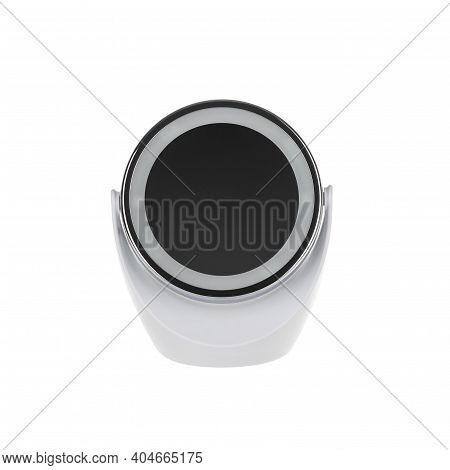 White Make-up Mirror On Isolated White Background With Clipping Path.