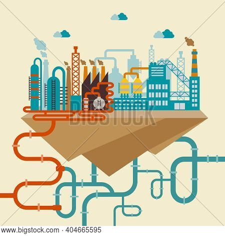 Illustration Of A Factory For Manufacturing Products Or Refinery Plant For Processing Natural Resour