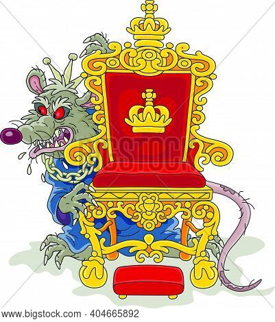 Spiteful And Insidious Old Rat King With A Shabby Tail, Wearing A Gold Crown And A Chain, Grinning F