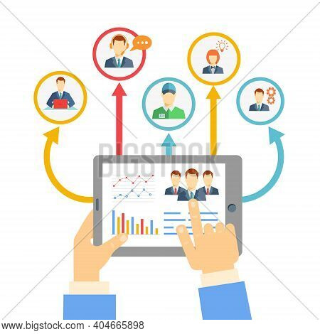 Remote Business Management Concept With A Businessman Holding A Tablet Showing Analytics And Graphs