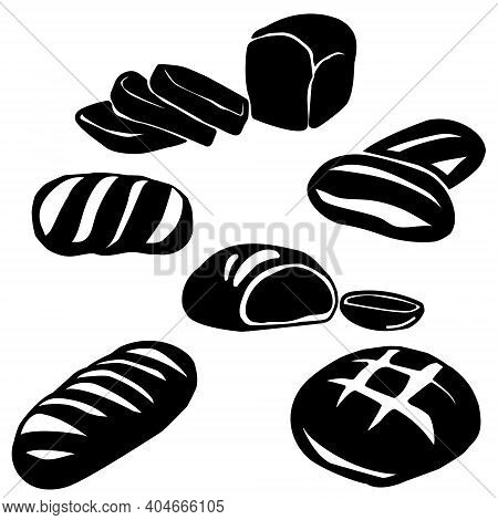 Set Of Silhouettes Of Bread Of Various Shapes, Whole Loaves Of Bread And Slices, Logo For A Store Or