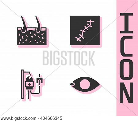 Set Blindness, Hair Covering Skin, Iv Bag And Scar With Suture Icon. Vector